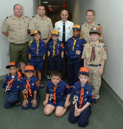 Sheriff Al Lamberti meets with Cub Scout Pack 114 to teach about communication. Cub Scout Pack leader and Detention Deputy Anthony Militello (left of Sheriff) was also in attendance.