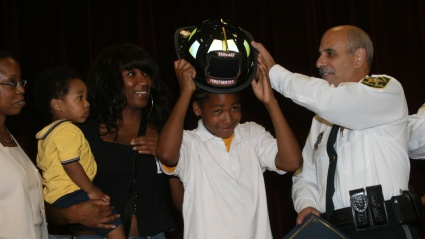 12-YEAR-OLD MADE HONORARY FIREFIGHTER